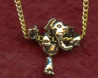Cute CLIMBING ELEPHANT Pendant Necklace - Gold Plated - He is Good Luck