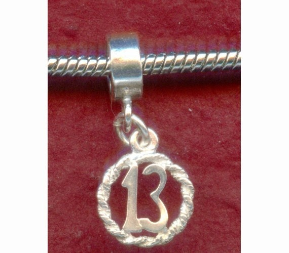Sterling Silver 13th Birthday Charm fits most Bracelets Number 13