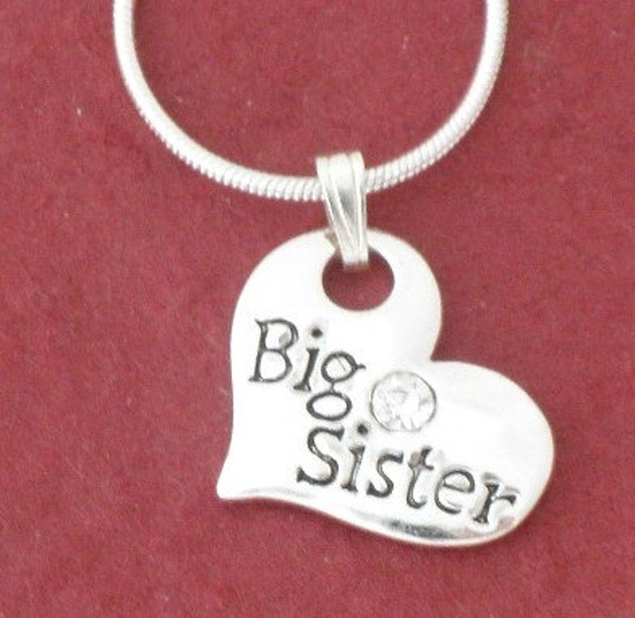 BIG SISTER in Heart Pendant Necklace Silver Plated including Swarovski crystal