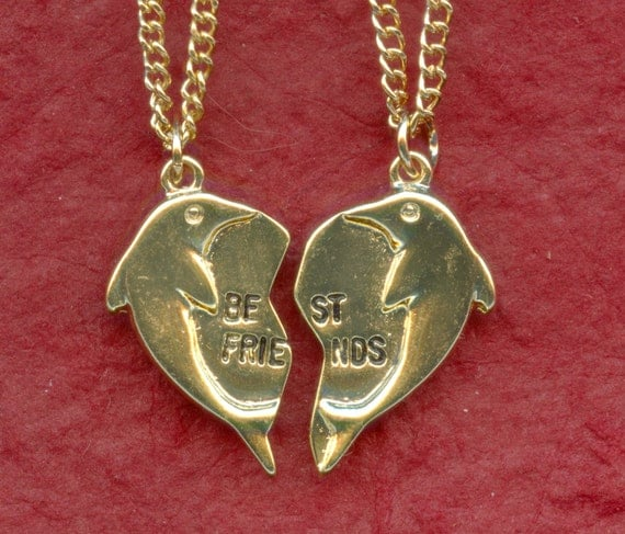 Dolphin best friends necklaces 2 gold plated pendants and for Is gold plated jewelry worth anything