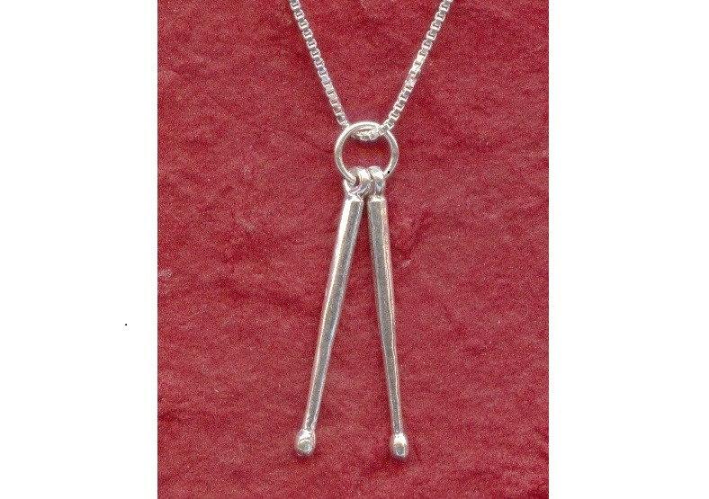 Sterling Silver Drumsticks Necklace 925 Drum Sticks Pendant
