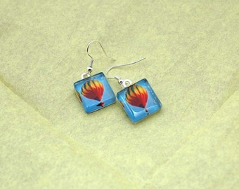 Hot Air Balloon Photo Charm Earrings