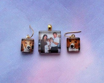 Custom Photo Charm Earrings and Pendant Set