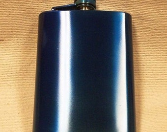 Ready To Ship!  8-oz Metallic Blue Stainless Steel Flask + FREE Flask Funnel + In-USA Shipping! More Color Options Listed Inside!
