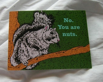 you are nuts squirrel postcard set of two green gray tree