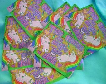 two horn unicorn postcard set of 2