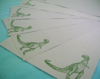 dinosaur stationery in olive green and gray - letter set for a Tyrannosaurus Rex loving pen pal