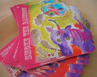 smoking unicorn postcard set of two with rainbows and cigarettes