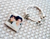 Polaroid Horseshoe Custom Tile Keychain (925 Sterling Silver)