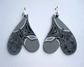 Hand painted curved heart earrings
