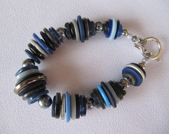 Buttons bracelet, BLUE & GRAY, small gift