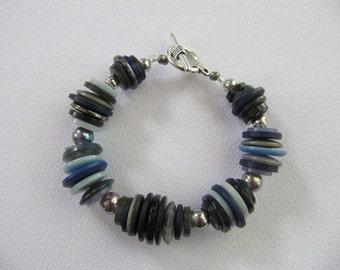 Fashion jewelry, buttons bracelet, BLUE
