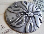Botanika large petal flower pendant handmade in fine silver