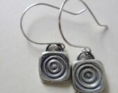 Modish Tile fine silver vintage button reproduction earrings