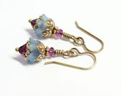 Lilies of the Valley Earrings - Blue Frost