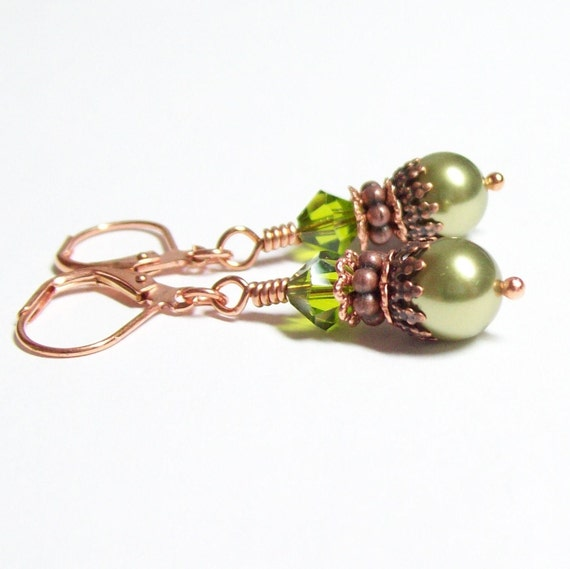 Olive Pearl and Copper Earrings