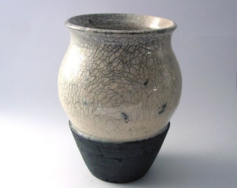 Raku Vase - White Crackle