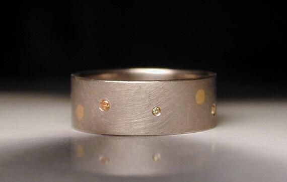 Palladium white gold polka dot wedding ring
