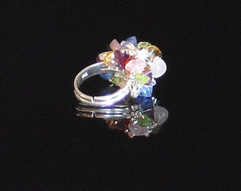 Multi Gemstone Colorful Cha-Cha Cluster Cocktail Ring - Free shipping