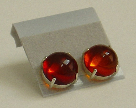 Baltic Amber Cabochons Sterling Silver Stud Earrings