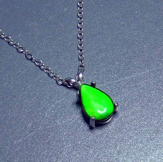 Ammolite Teardrop Pendant Necklace