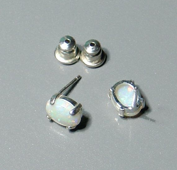 Australian White Opal Earrings