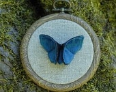 Origami Silk Butterfly Wall Hanging Custom Embroidery Hoop Linen Peacock Blue Teal and Black Silks SMALL SIZE butterfly