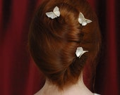 Silk Origami Butterfly Hair Pin Custom Updo Decorations Set of 3 White Cream Wedding Bridal Hair Pins White Butterflies SMALL SIZE