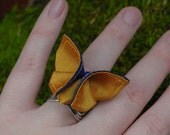 Ring Silk Origami Butterfly Ring Art Nouveau Adjustable Ring Royal Peacock Blue Tangerine Silks Statement Cocktail Ring SMALL SIZE butterfly
