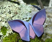 Butterfly Barrette Silk Origami Hair Barrette with Hydrangea Blue and Magnificent Sunset Silks LARGE SIZE Gift for Her Gift for a Woman