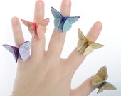 Silk Origami Butterfly Adjustable Ring Custom Made from 100 Colors of Silk Fall Pantone Colors Featured SMALL SIZE
