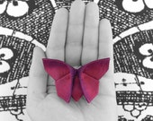 Butterfly Hair Clip Stocking Stuffer Gift Silk Origami Fascinator Barrette Grape and Iridescent Fuchsia and Violet Silks MEDIUM SIZE