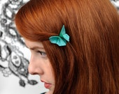 Butterfly Hair Clip Silk Origami Butterfly Hair Clip 100 SILK colors True Emerald and Tiffany Blue SMALL SIZE green gift