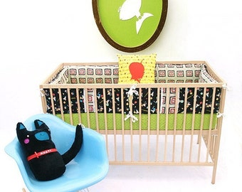 Gender Neutral ,  Crib Bumper Set , Bumper Guards , Bumper Pads , Crib Bedding Buta Pig