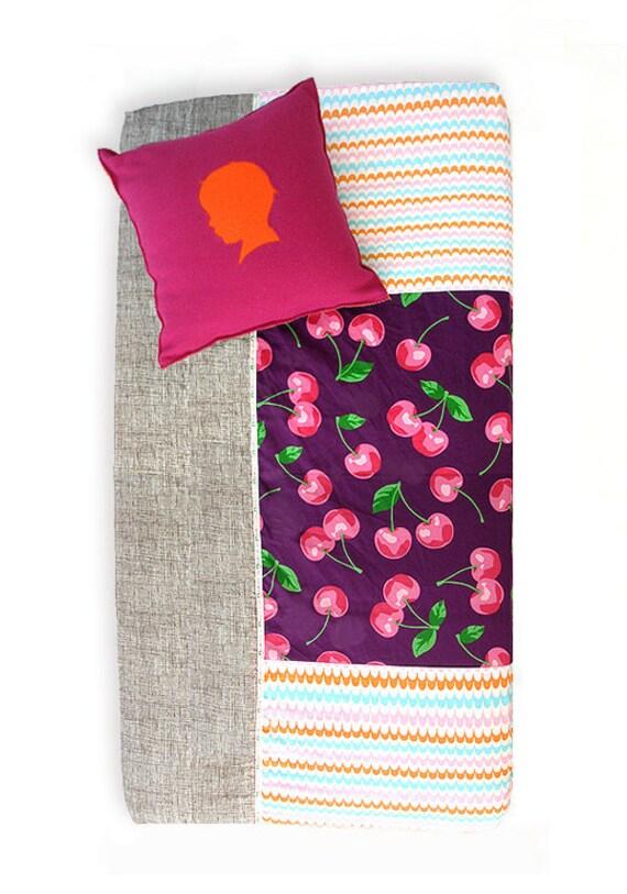 Bumper Free Crib Bedding , Bumperless , Fitted Crib Sheet Patchwork Cherry Pie