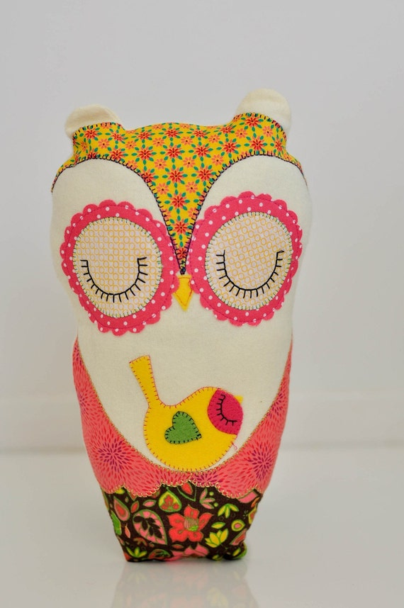 Owl and sparrow handmade plush softie bedroom decor by for Handmade decorative items for bedroom