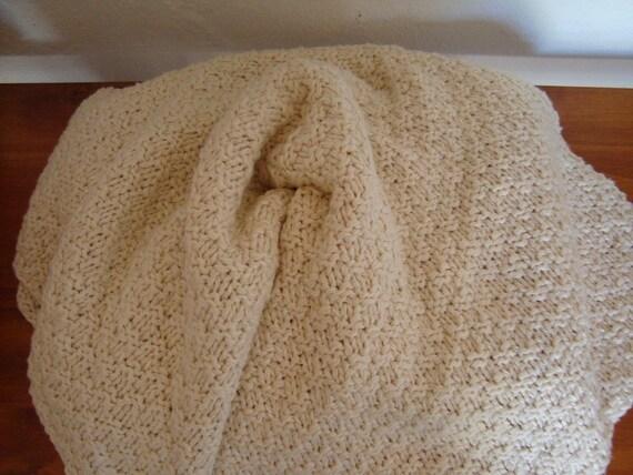 Handknit Large Organic Cotton Bamboo Baby Blanket