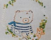 Bear and Fish Hand Embroidery Pattern PDF incl extra key pattern and guide no shipping fee