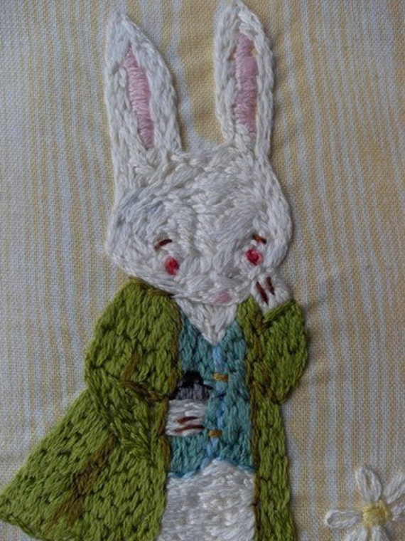 Oh dear I shall be too late... White Rabbit Alice in Wonderland hand embroidery pattern PDF