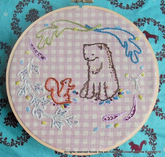 Tales from the Forest Hand Embroidery PDF pattern incl stitch and colour guide