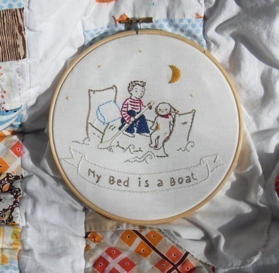 Adorable My Bed is a Boat PDF Hand embroidery pattern perfect for  boys