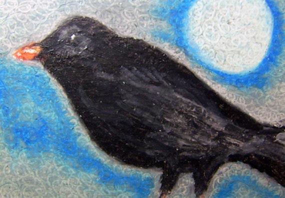 Original Art Oil Pastel Crow Black Bird ACEO