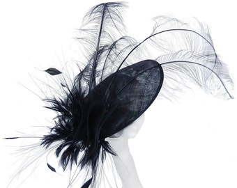 Black Fascinator Hat for Weddings, Races, and Special Events With Headband