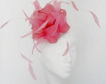 Hot Pink Twinkette Fascinator Hat for Weddings, Races, and Special Events With Headbandby
