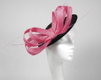 Mihaela Black and Pink Fascinator Kentucky Derby or Wedding Hat on a Headband