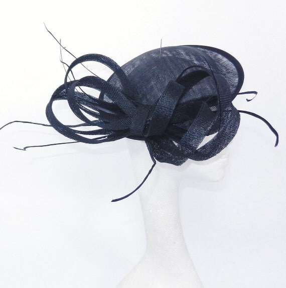 Black Mihaela Fascinator Hat for Kentucky Derby, Weddings and Christmas Parties on a Headband