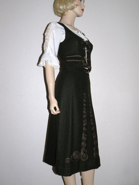Traditional Austrian Loden Green Embroidered Skirt and Vest with Coin Buttons and Fab Details XS to S