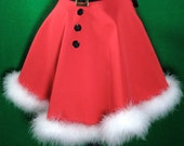 Red Apron Santa inspired for Hostess with marabou feathers