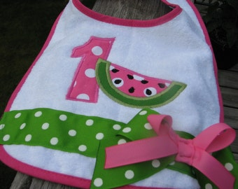 watermelon  bibs, 1st birthday bib, 2nd birthday bib, smash cake bib, watermelon birthday bib, pink watermelon birthday bib