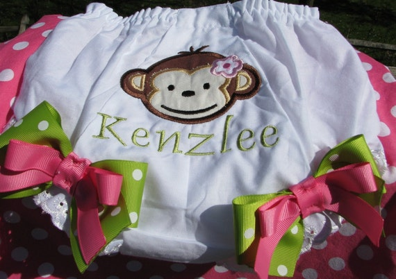 mod monkey  Embroidered Bloomer,birthday bloomers, monkey birthday, smash cake pictures